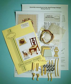 Miniature needlepoint tutorial - contents of a dining chair kit