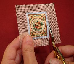 Dollhouse needlepoint tutorial - trim around the stitched area
