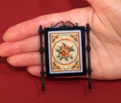 Dollhouse needlepoint tutorial - the finished firescreen