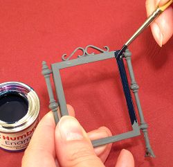 Dollhouse needlepoint tutorial - painting the metal frame