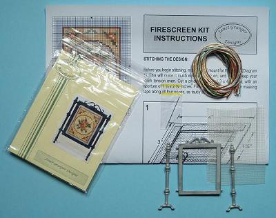 Miniature needlepoint tutorial - contents of a firescreen kit