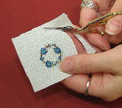 Dollhouse needlepoint tutorial - trim the fabric