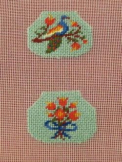 Miniature needlepoint tutorial -  leave a gap between the panels