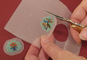 Miniature needlepoint tutorial - trim around the design