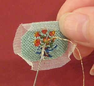 Miniature needlepoint tutorial - attach the gold thread for the handle