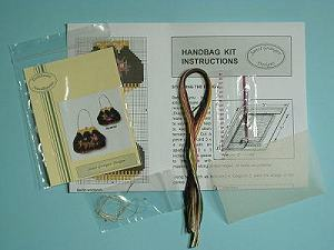 Miniature needlepoint tutorial - contents of a handbag kit