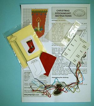 Miniature needlepoint tutorial - contents of a miniature needlepoint Christmas Stocking kit