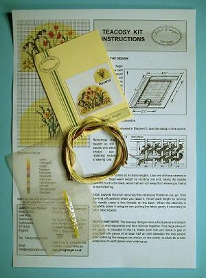 Miniature needlepoint tutorial - contents of a teacosy kit