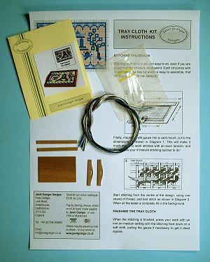 Miniature needlepoint tutorial - contents of a traycloth kit