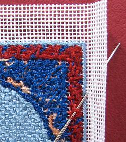 Dollhouse needlepoint tutorial - wallhanging, starting to hem the edge