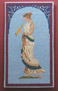 Dollhouse needlepoint tutorial - hemming complete, front view