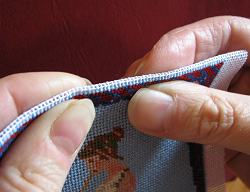 Dollhouse needlepoint tutorial - Fold the unworked half inch of canvas down