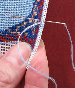Dollhouse needlepoint tutorial - stitching the hem