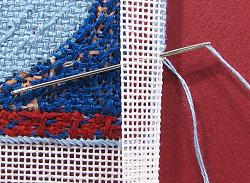 Dollhouse needlepoint tutorial - ending a thread