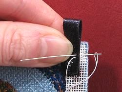 Dollhouse needlepoint tutorial - stitch a tab on at the top