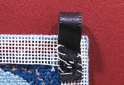 Dollhouse needlepoint tutorial - first tab sewn on