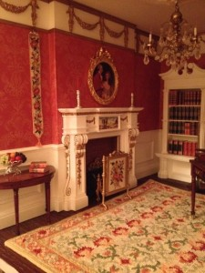 Dollhouse room with bellpull, firescreen and carpet