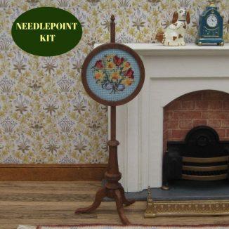 pole screen kit dollhouse needlepoint embroidery