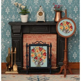 Spring flowers dollhouse needlepoint embroidery fire screen pole screen furniture kit