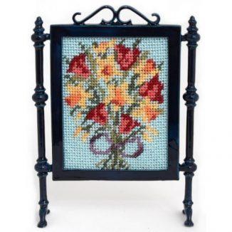 Dollhouse needlepoint firescreen kit: Spring flowers