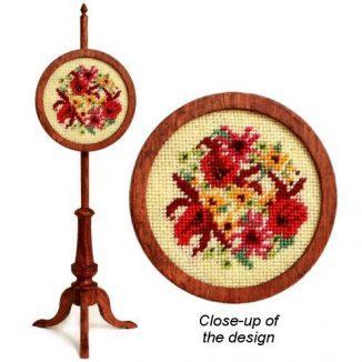 Dollhouse needlepoint polescreen kit: Autumn Harvest