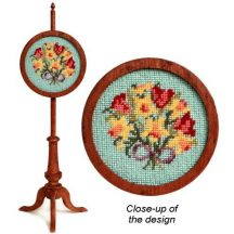 Dollhouse needlepoint polescreen kit: Spring Flowers