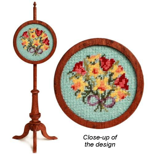 Dollhouse needlepoint polescreen kit: Spring Flowers