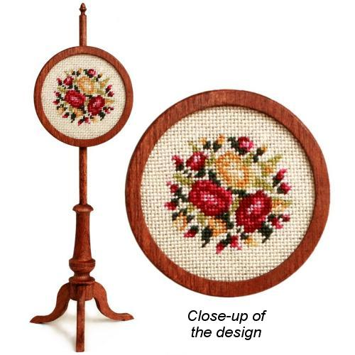 Dollhouse needlepoint polescreen kit: Summer Roses