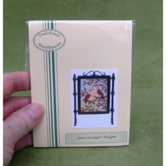 Two owls fire screen miniature petit point dollhouse needlepoint furniture kit