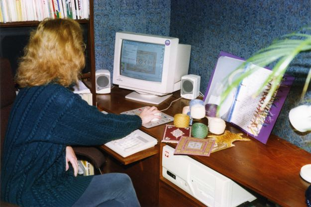 Janet at her computer, 1997