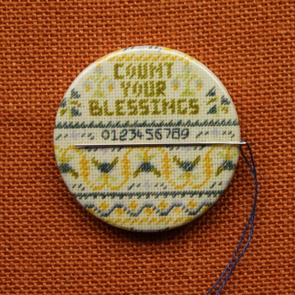 Needle holder, Cross stitch needle minder, Count your blessings